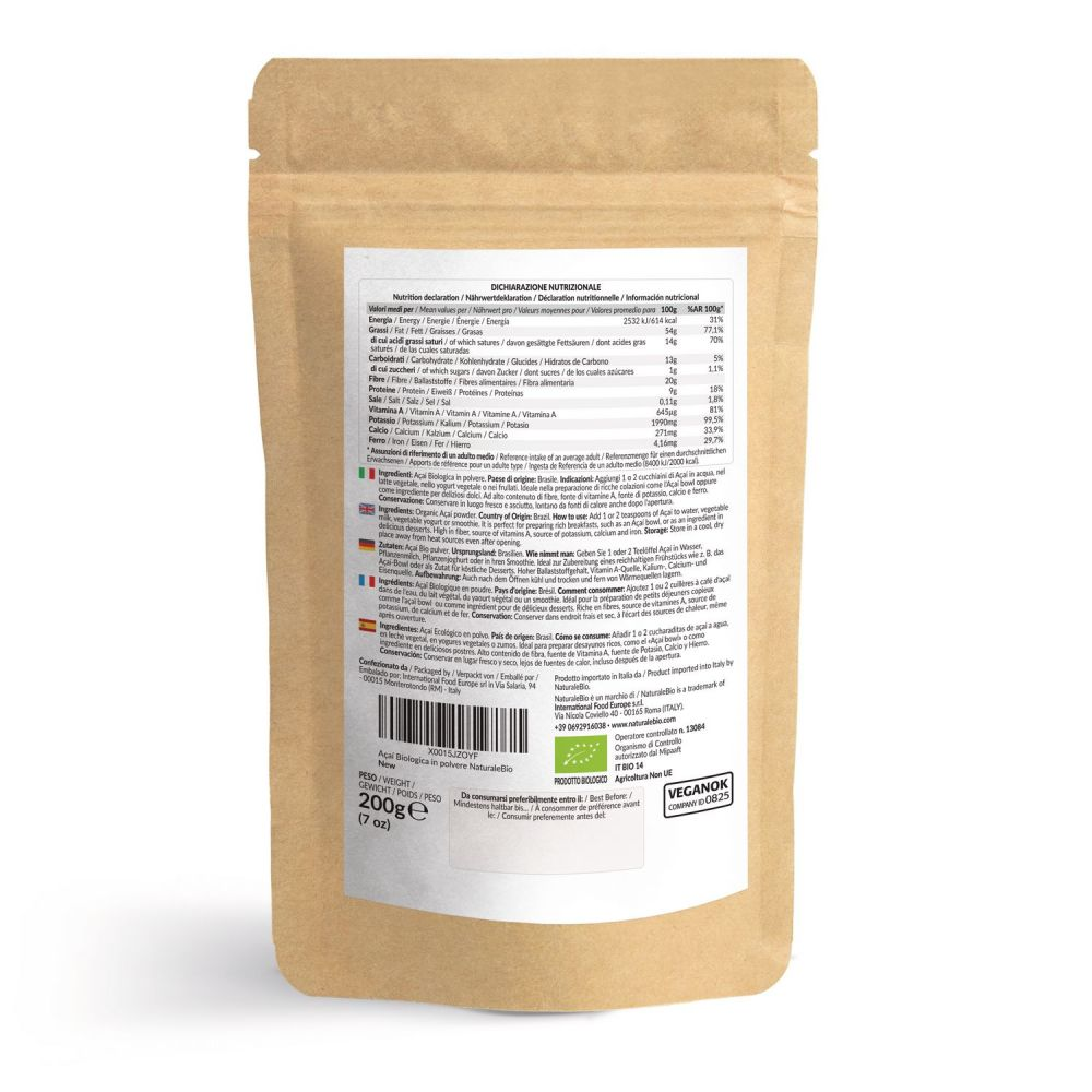 Acai in polvere biologico 200g naturalebio retro