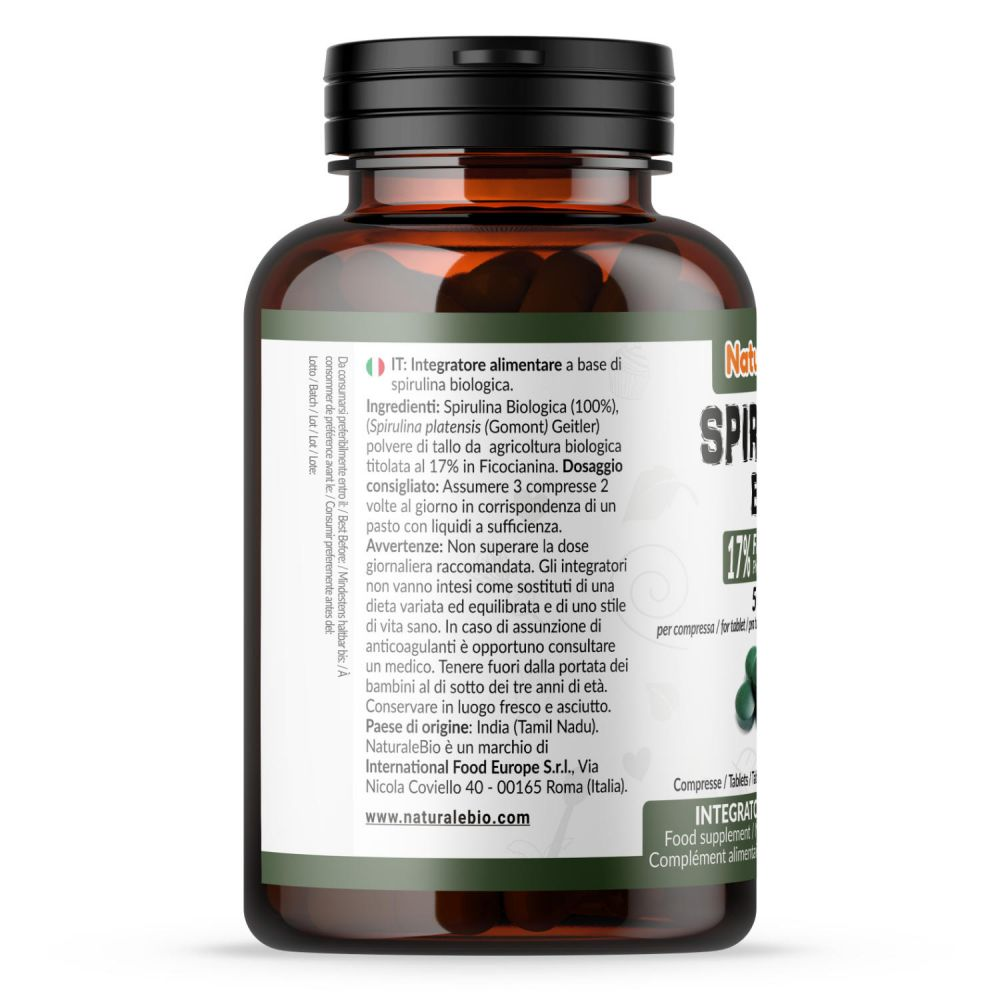 Alga spirulina compresse biologica 500mg integratore alimentare side
