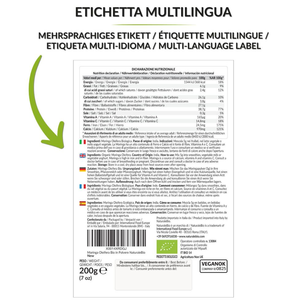 Moringa biologica 200g retro multilingua