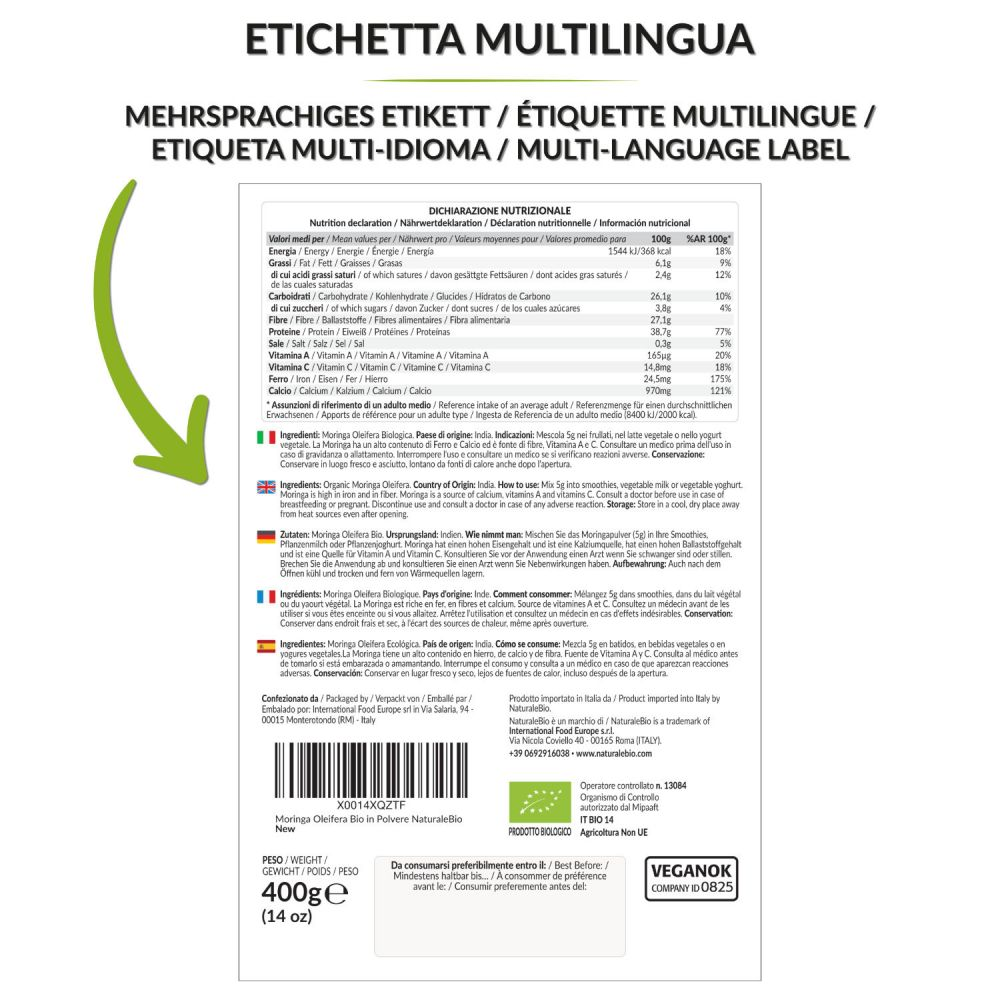Moringa biologica 400g retro multilingua