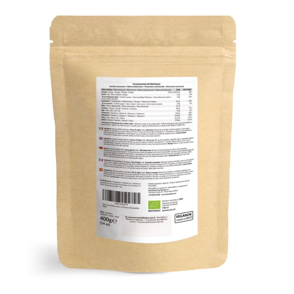 Moringa biologica 400g retro