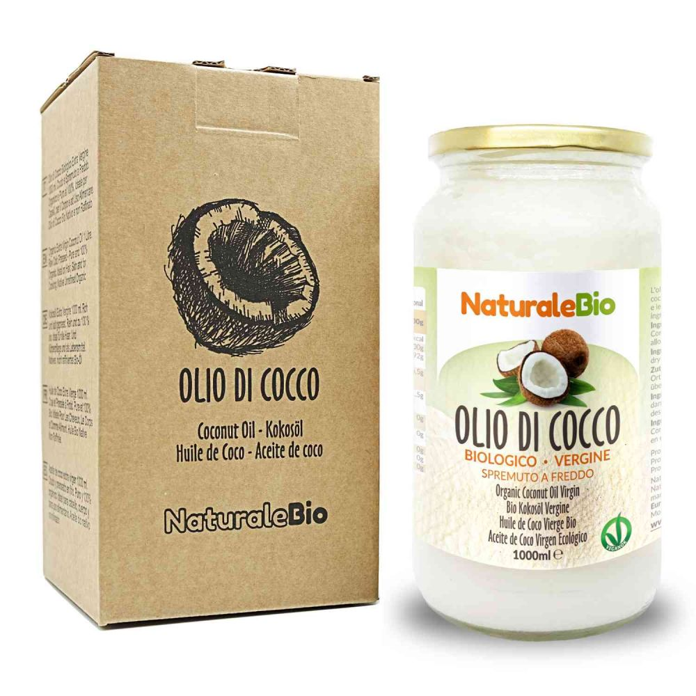 Olio di cocco biologico naturalebio 1000ml fronte packaging