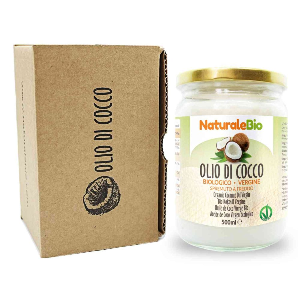 Olio di cocco biologico naturalebio 500ml fronte packaging