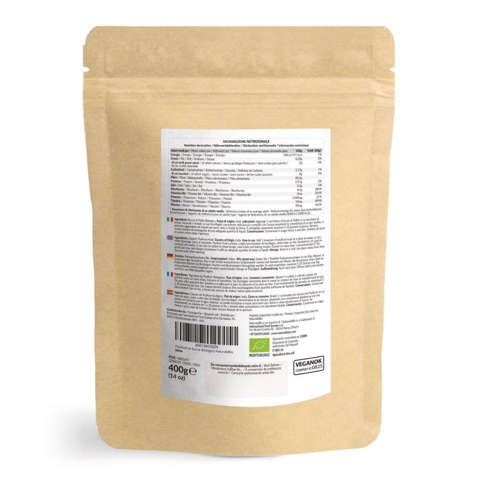 Psillio biologico 400g retro