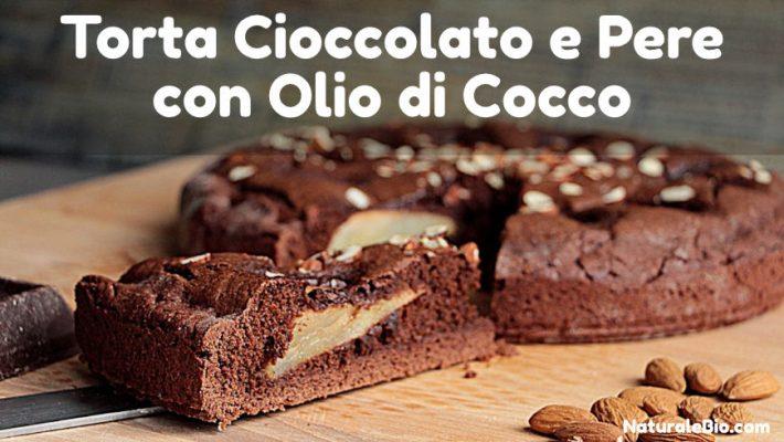 Torta cioccolato e pere con olio di cocco