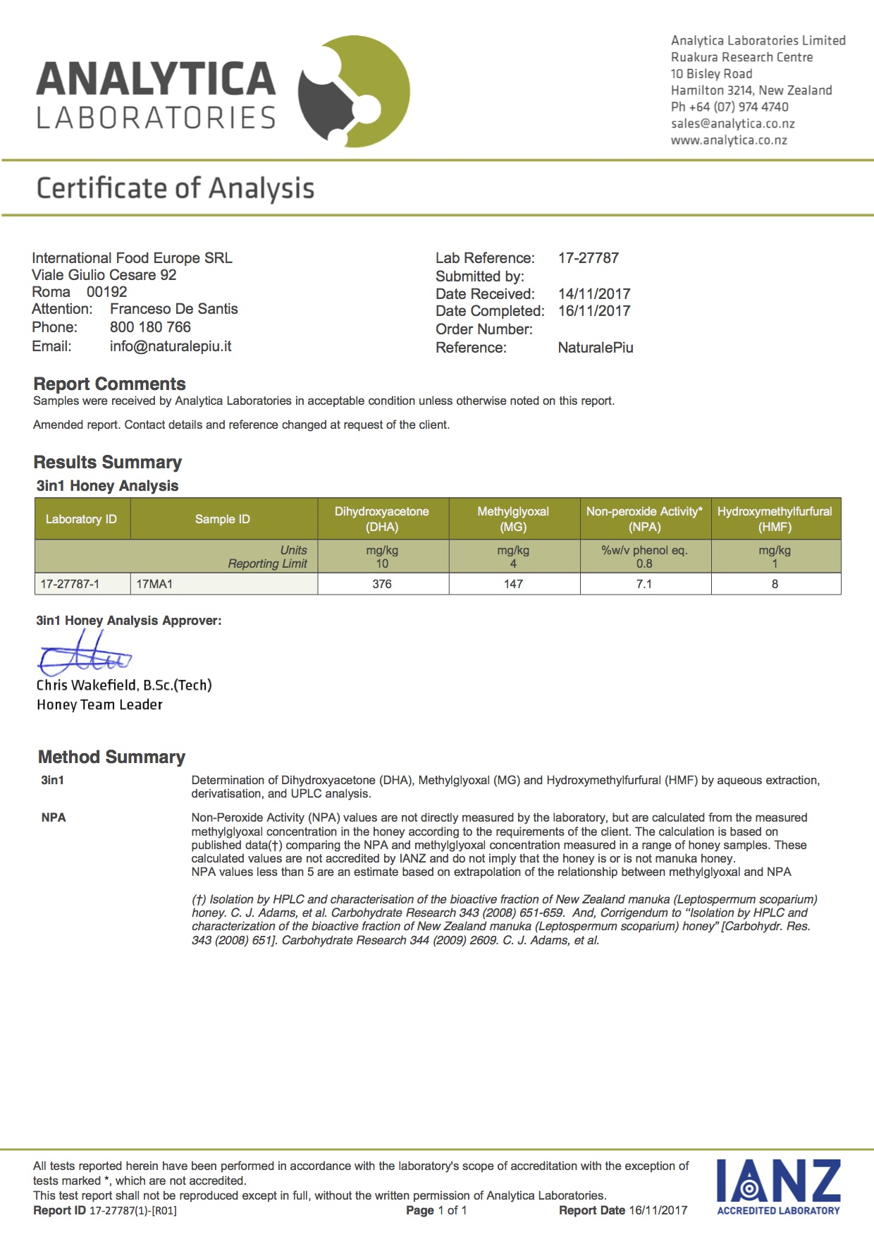 100 mgo 17MA1 test metilgiossale