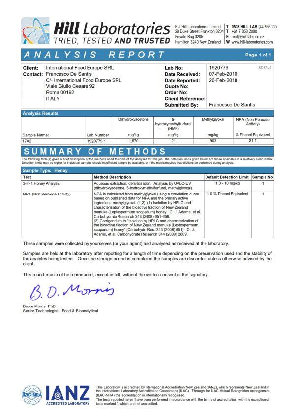 Test Miele di Manuka Metilgliossale 800 mgo