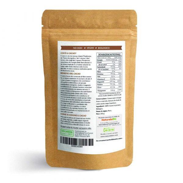 Cacao crudo in polvere - informazioni nutrizionali