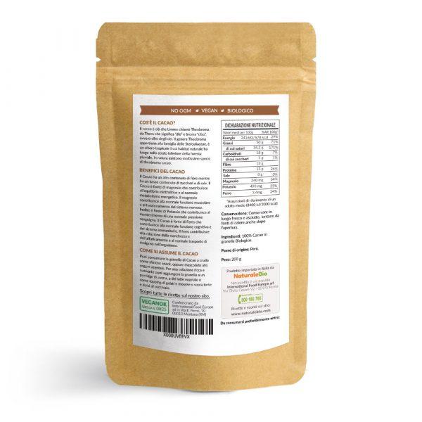 Cacao crudo in granella - informazioni nutrizionali