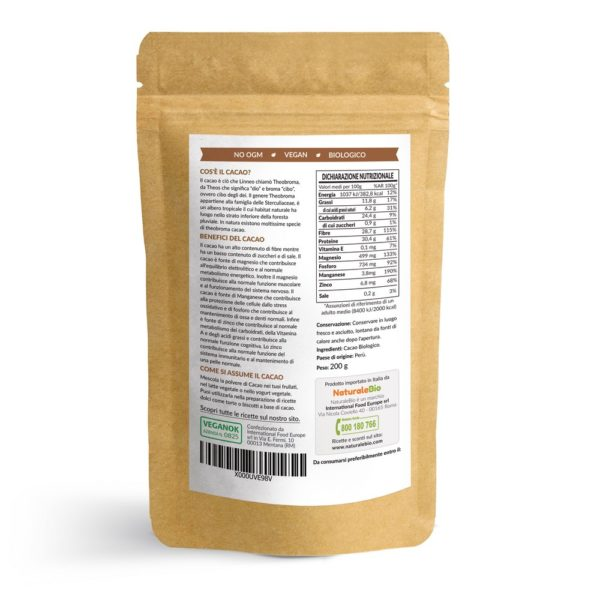 Cacao in polvere NaturaleBio - 200g - IT - RETRO