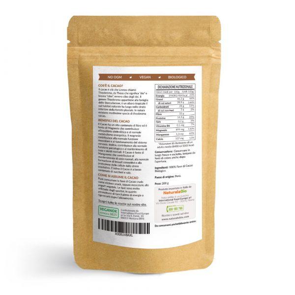 Fave di cacao crudo - informazioni nutrizionali