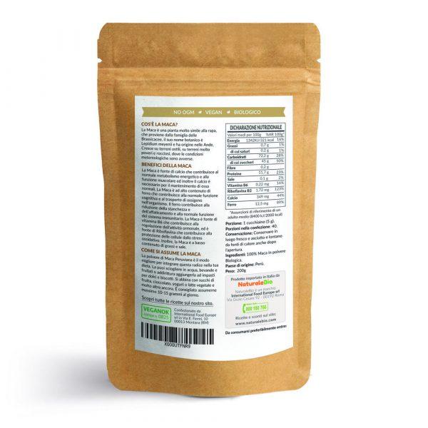 Maca in Polvere - informazioni nutrizionali